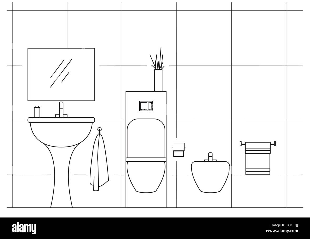 Line Art Bathroom : Line for bathroom stock photos