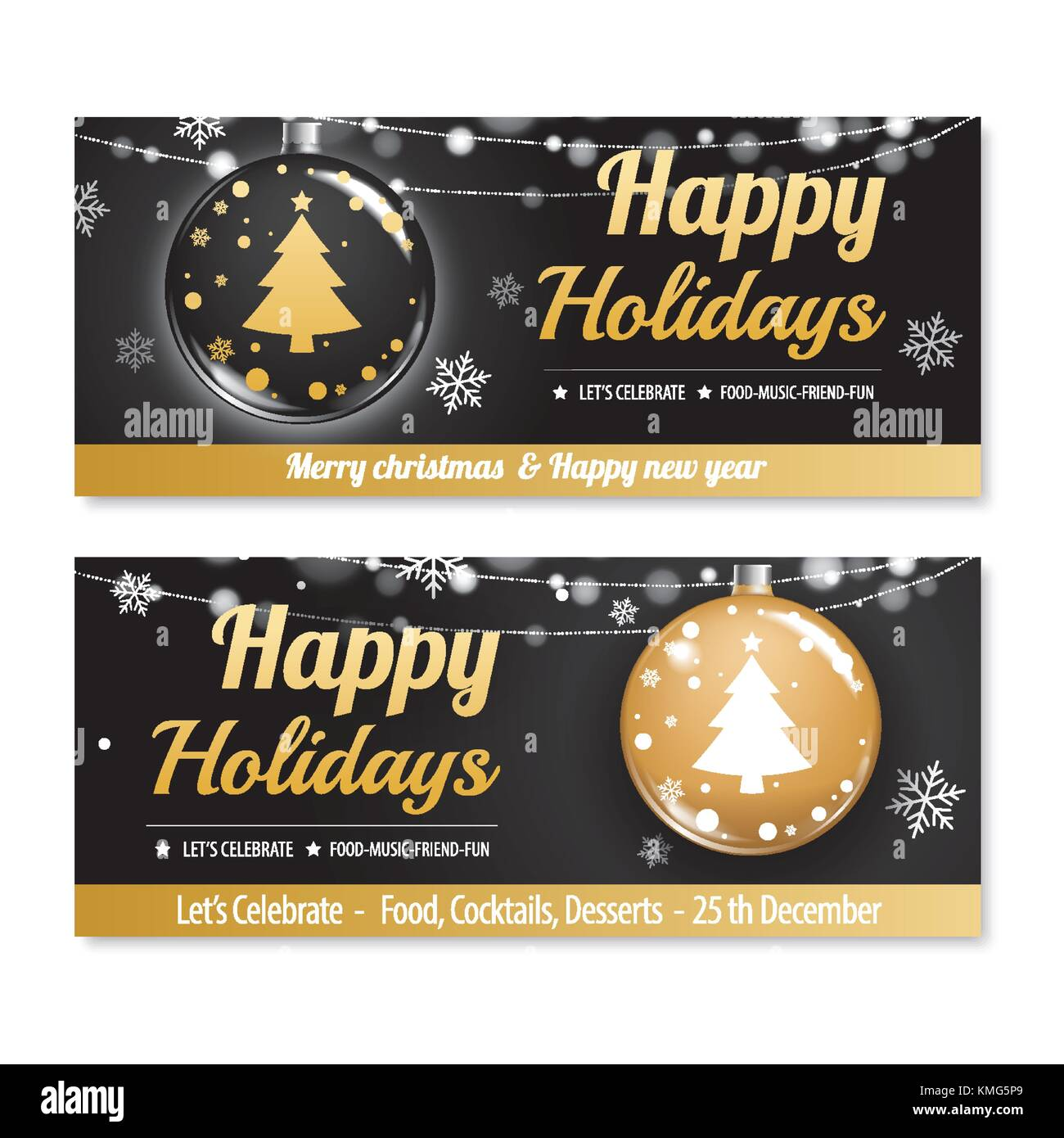invitation merry christmas party poster banner and card design template happy holiday and new year with black and gold ball for voucher coupon theme