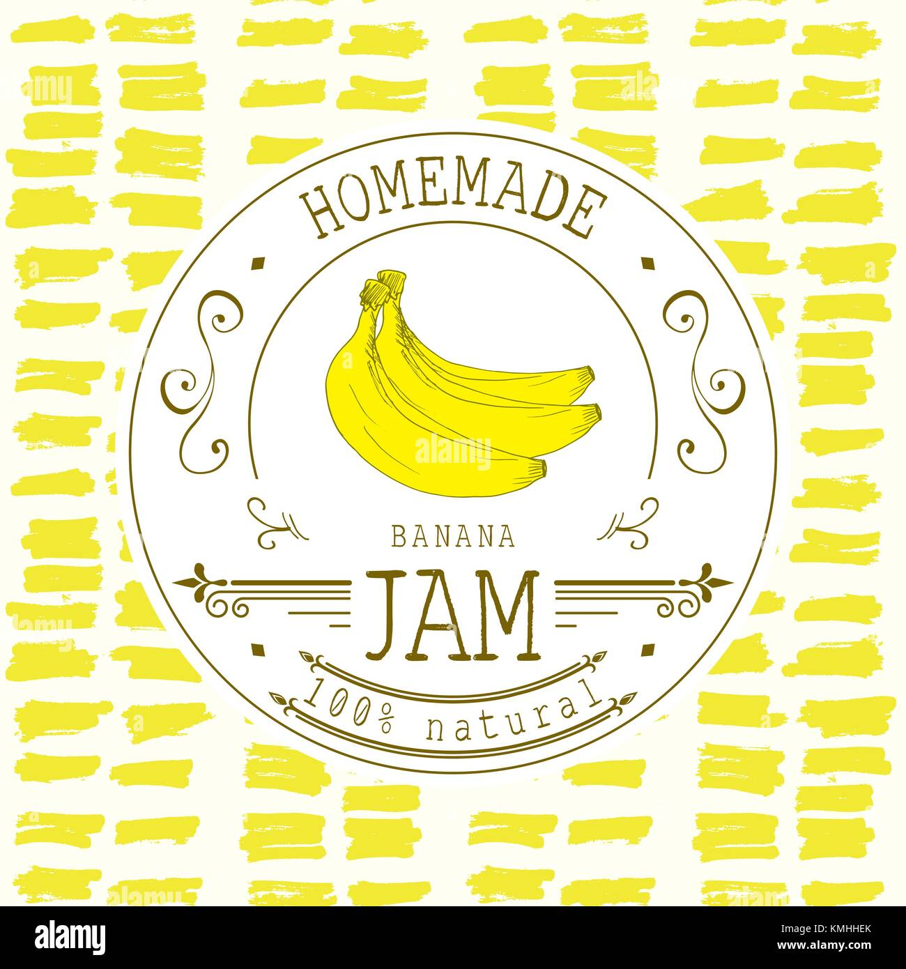 jam label design template for banana dessert product with hand