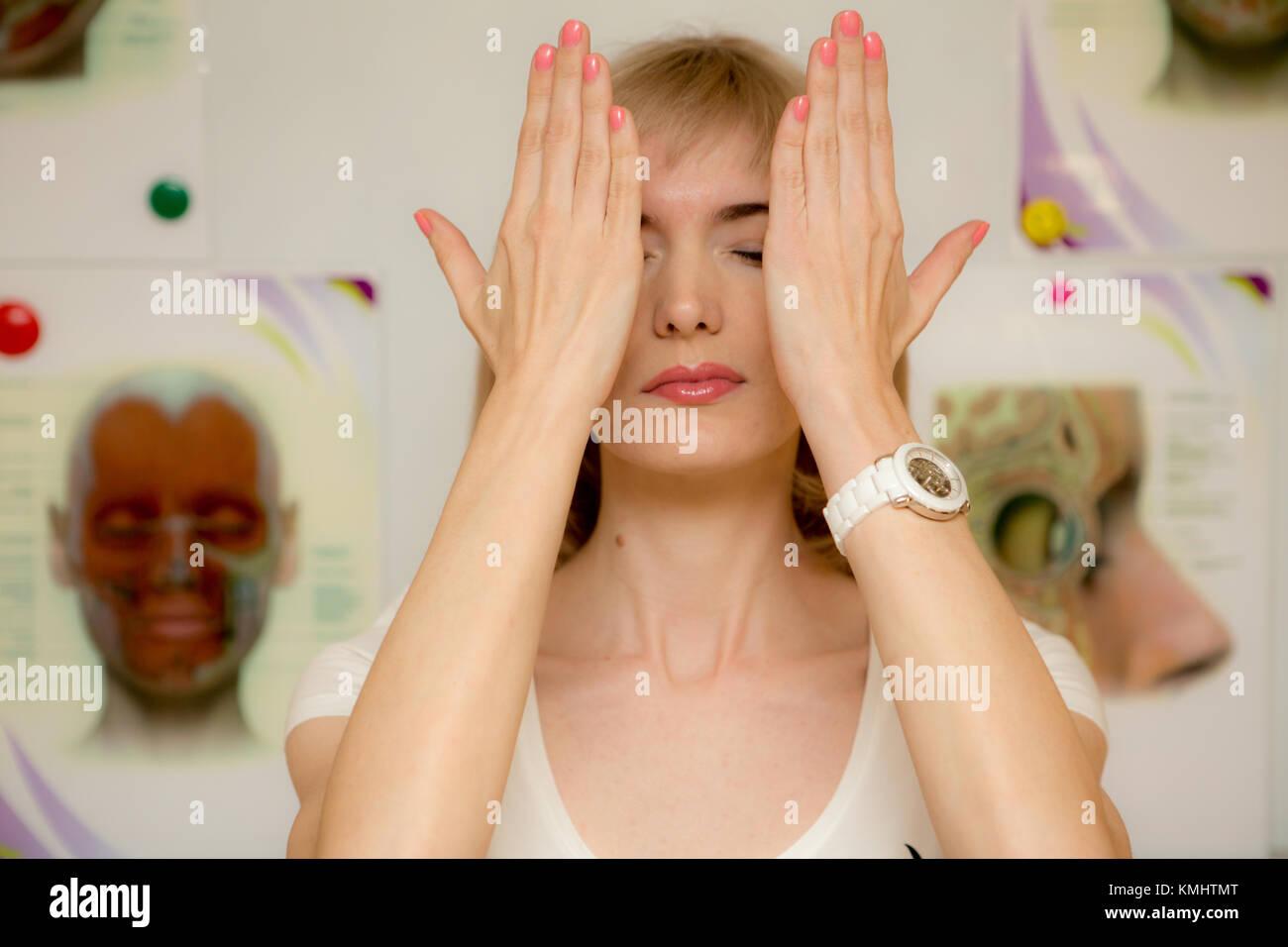 Facial Gymnastics Young Stock Photos & Facial Gymnastics ...