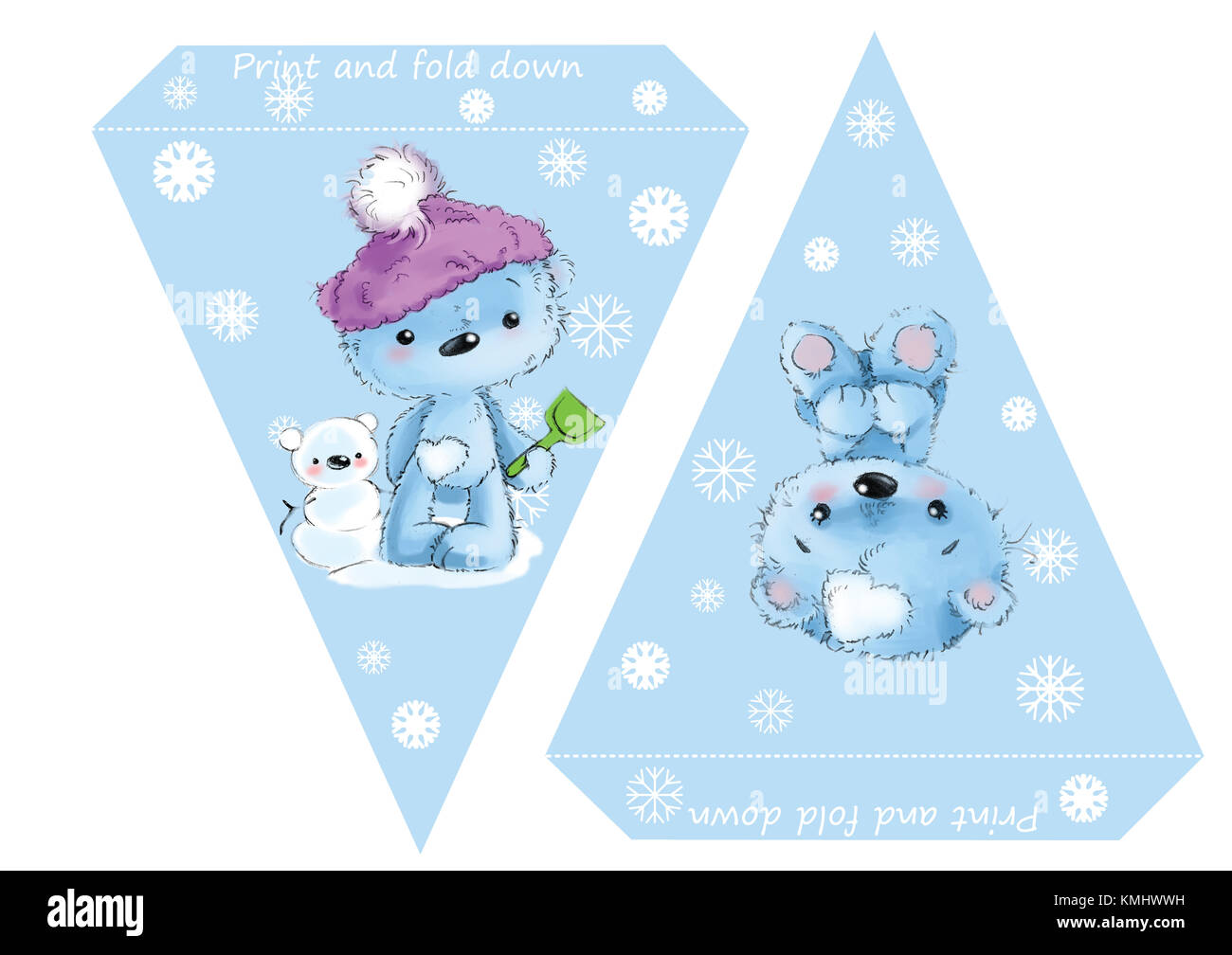 printable template flags banner baby shower birthday new year or christmas party with baby bears and snowflakes
