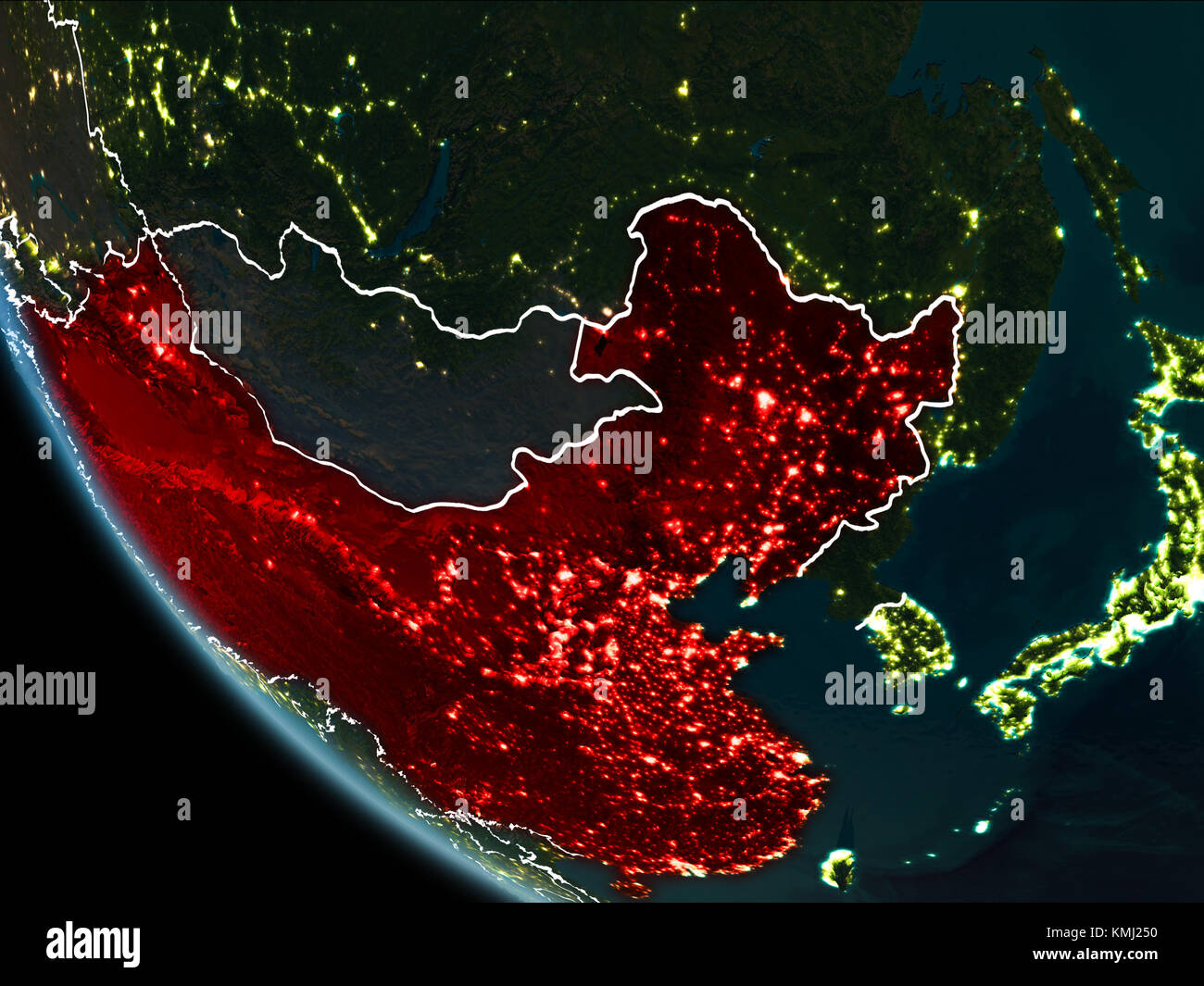 Satellite view of china highlighted in red on planet earth at night satellite view of china highlighted in red on planet earth at night with borderlines and city lights 3d illustration elements of this image furnishe gumiabroncs Gallery