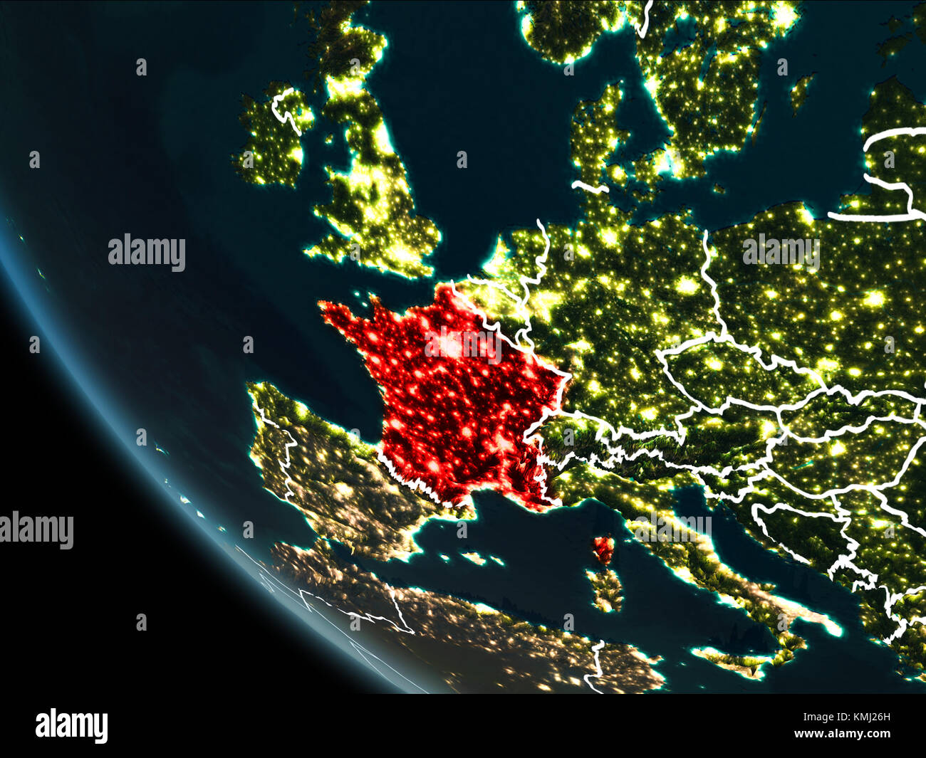 Satellite View Of France Highlighted In Red On Planet Earth At - World satellite map lights