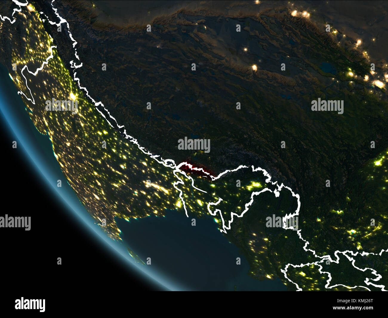 Satellite View Of Bhutan Highlighted In Red On Planet Earth At - World satellite map lights