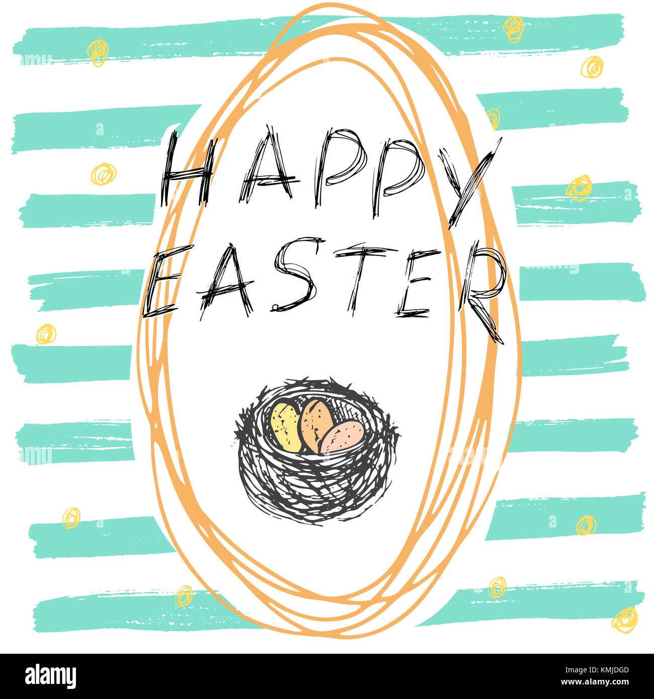 Happy easter hand drawn greeting card with lettering and sketched happy easter hand drawn greeting card with lettering and sketched doodle elements easter eggs on color background kristyandbryce Gallery