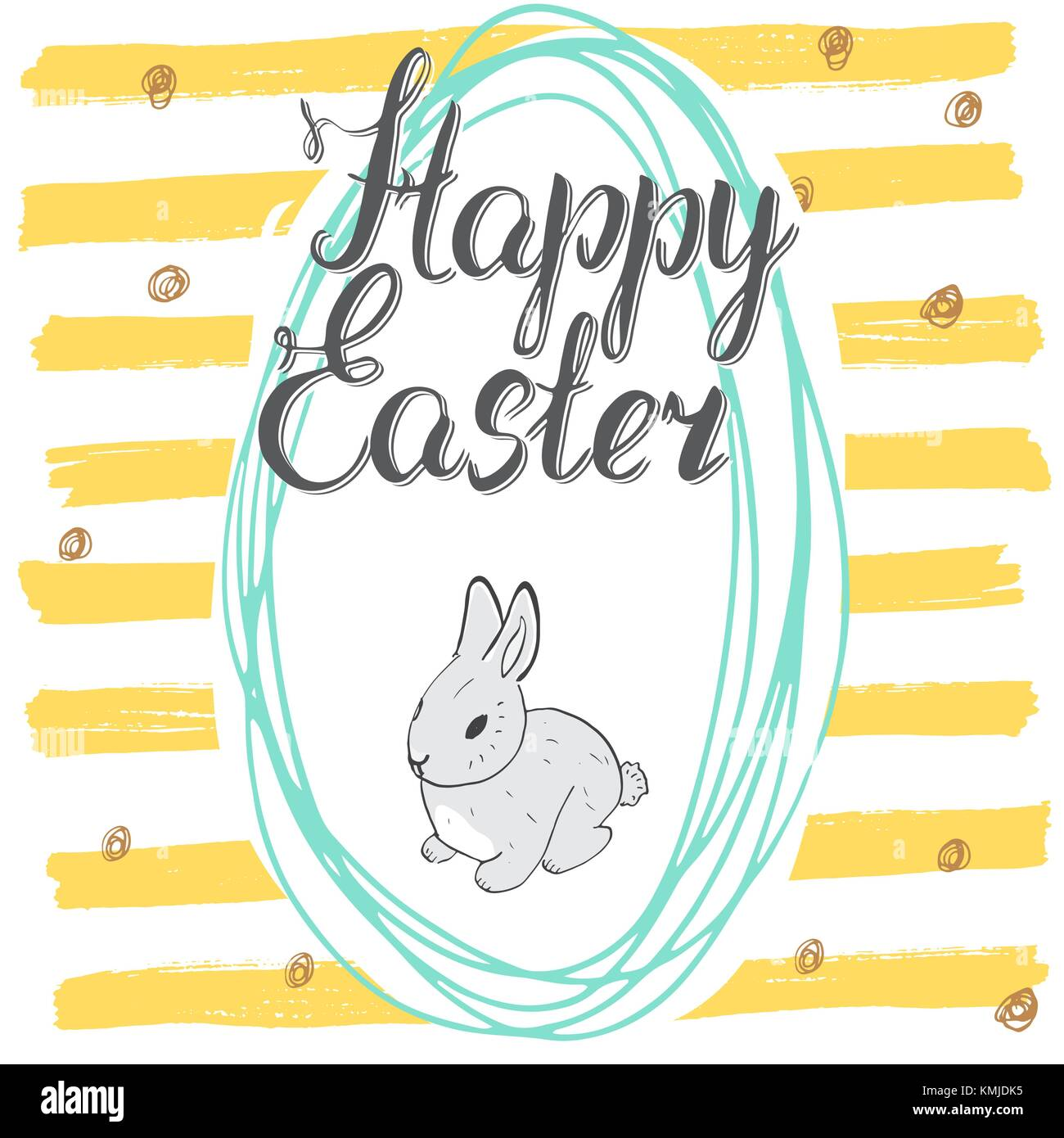 Happy easter hand drawn greeting card with lettering and sketched happy easter hand drawn greeting card with lettering and sketched doodle elements cute rabbit in easter kristyandbryce Gallery