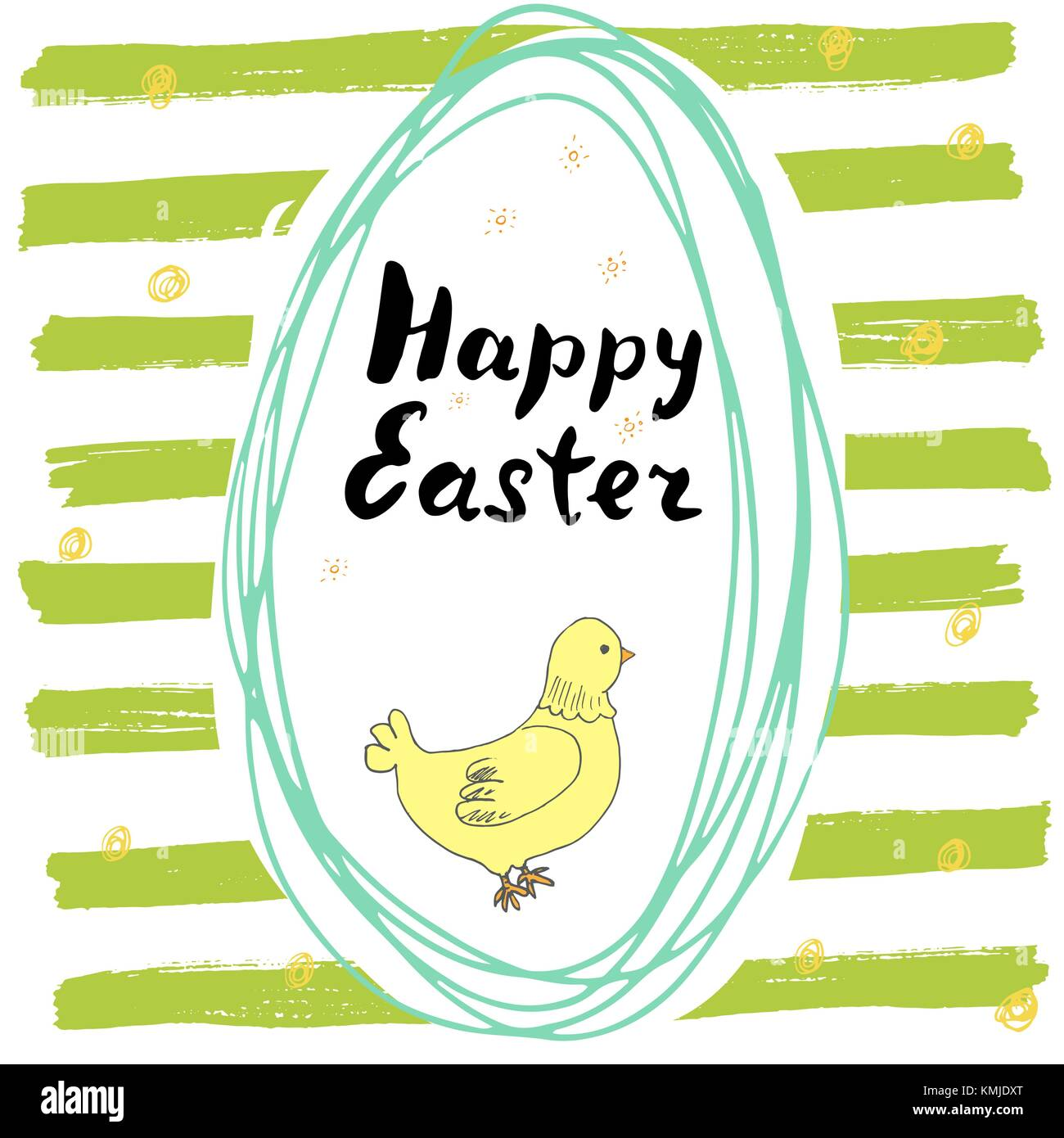 Happy easter hand drawn greeting card with lettering and sketched happy easter hand drawn greeting card with lettering and sketched doodle elements cute chicken in easter kristyandbryce Gallery