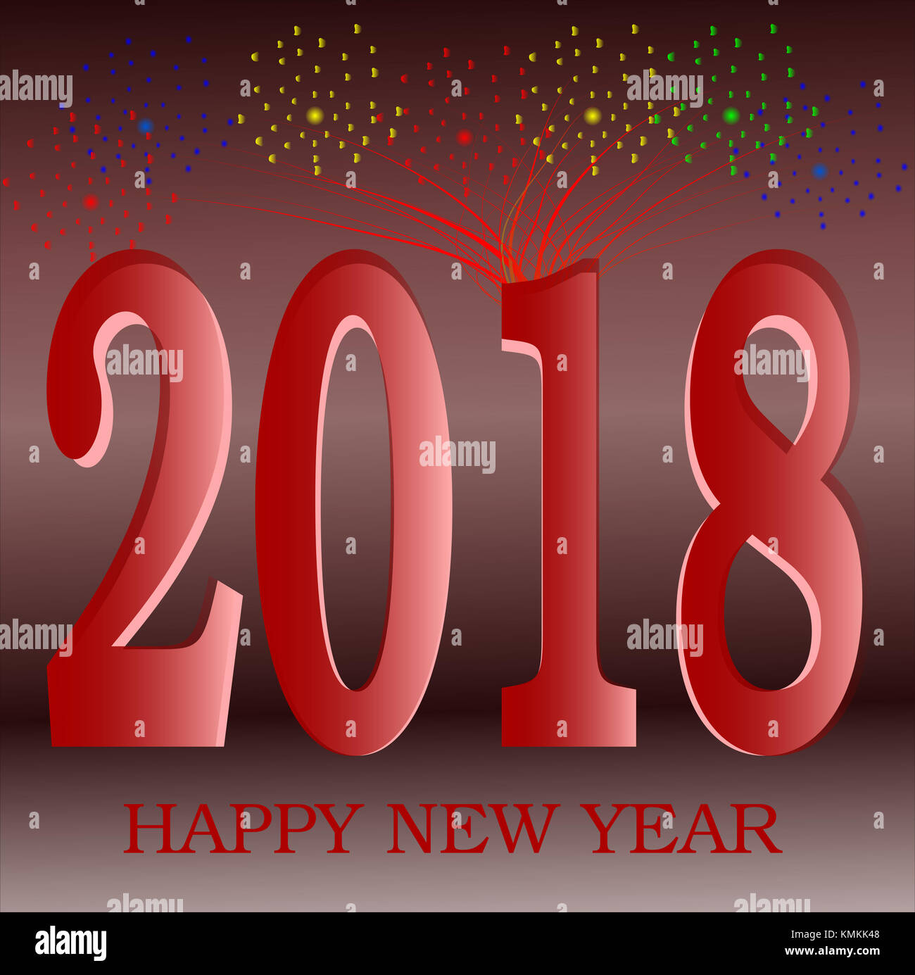 happy new year 2018 greeting red with golden background illustration with gradients 3d illusion space