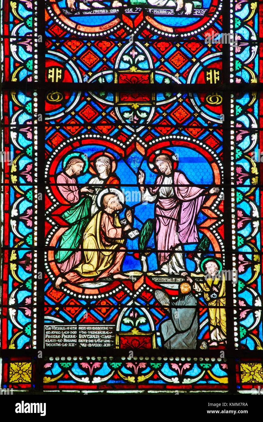 Stained glass windows france stock photos stained glass for Chambre commerce auxerre