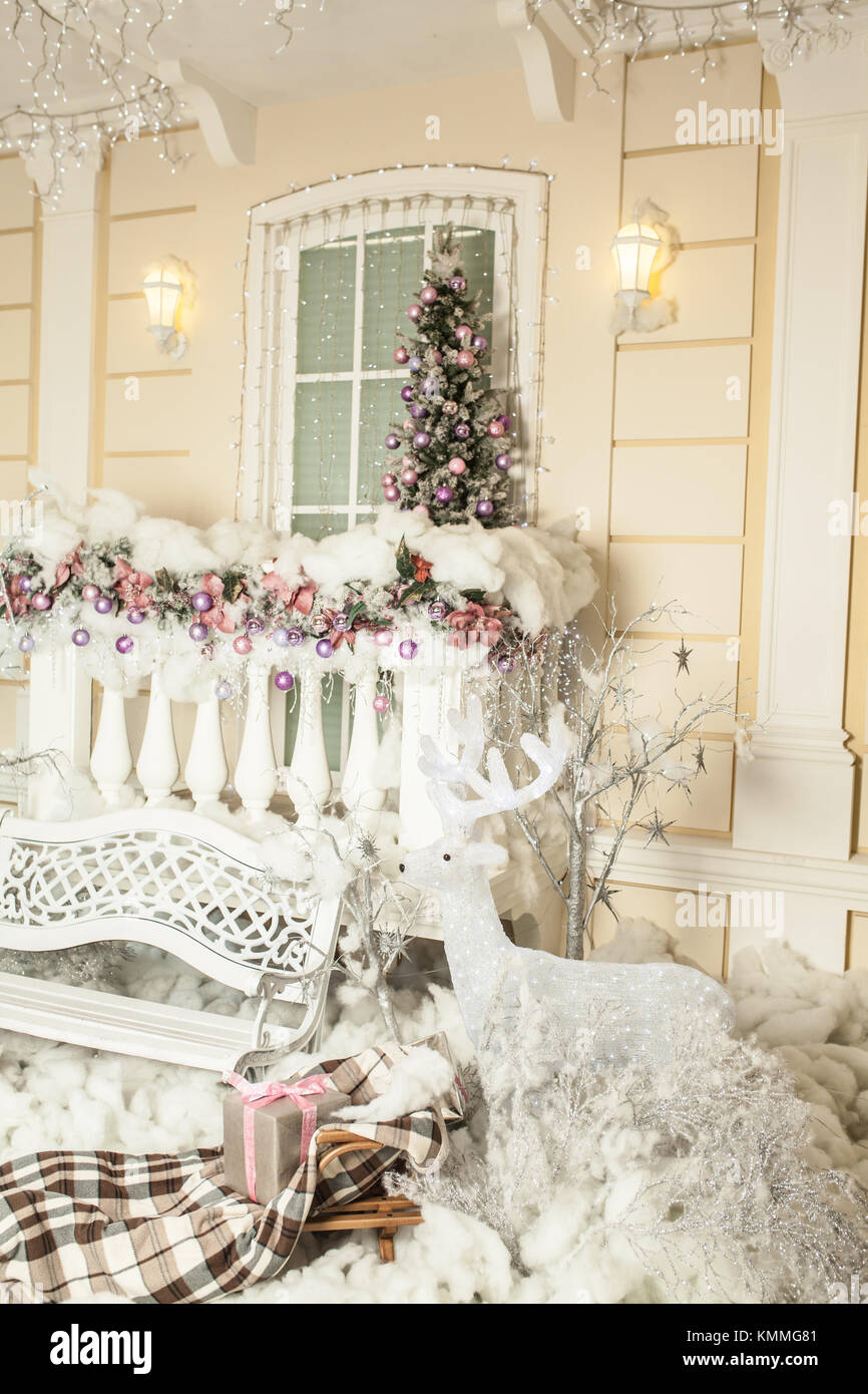 white new year decoration with plaid sleight and bench indoor Stock ...