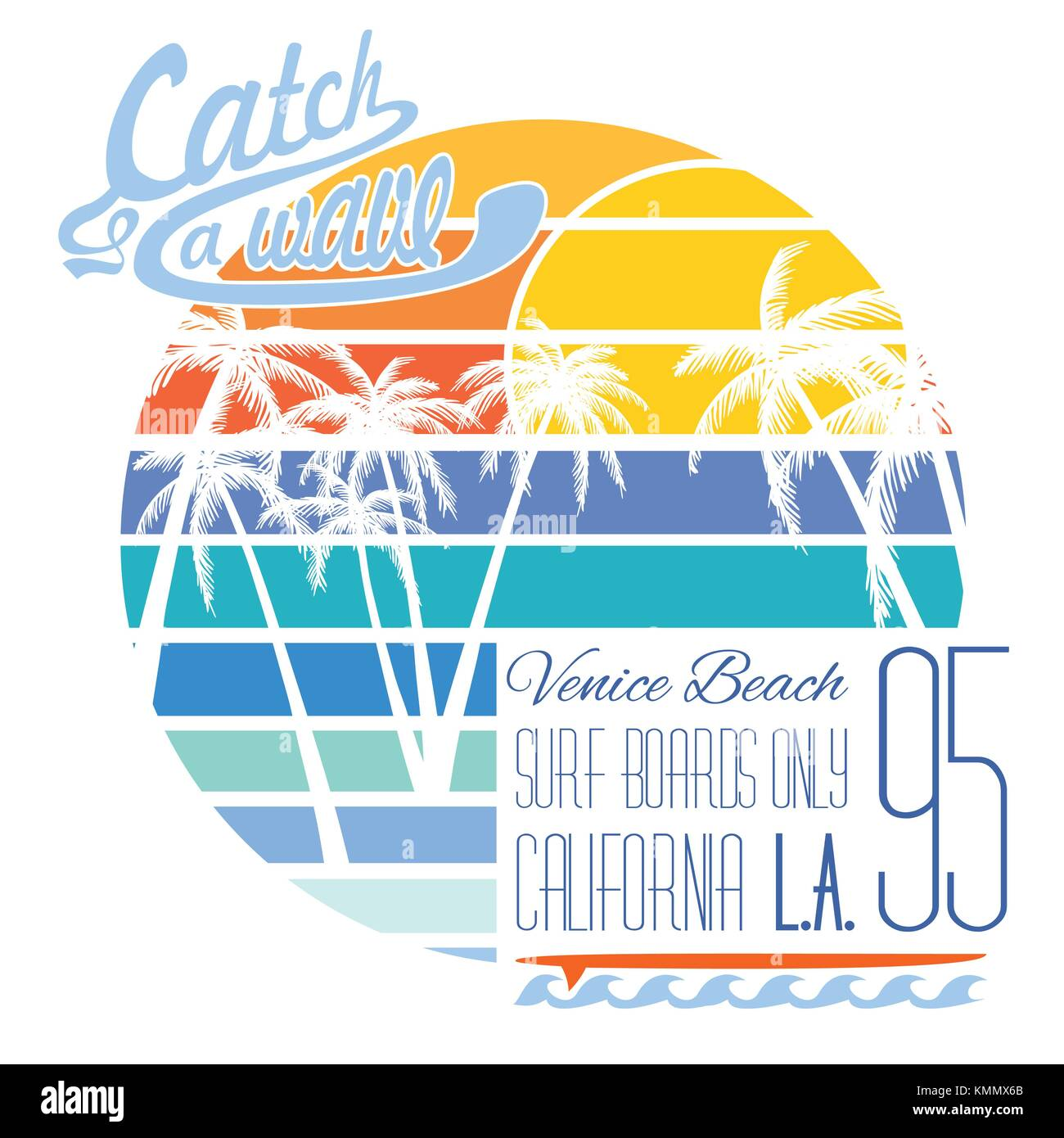 California Venice Beach Typography T Shirt Printing Design Summer