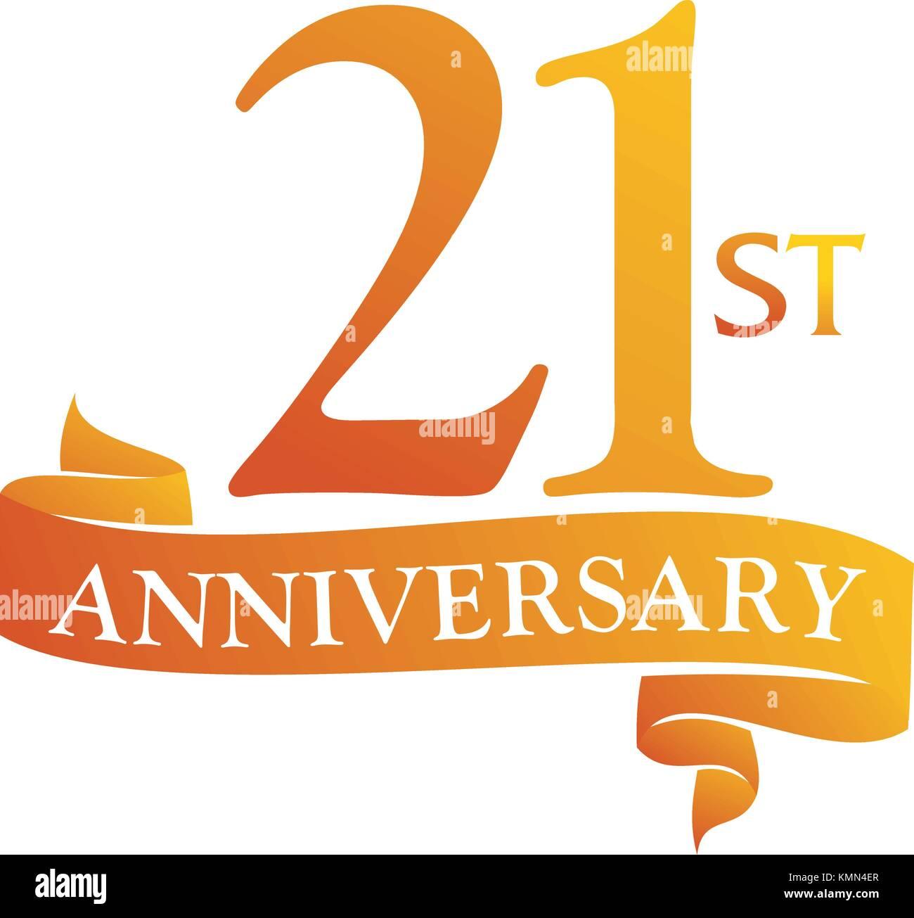 21 year ribbon anniversary stock vector art illustration vector