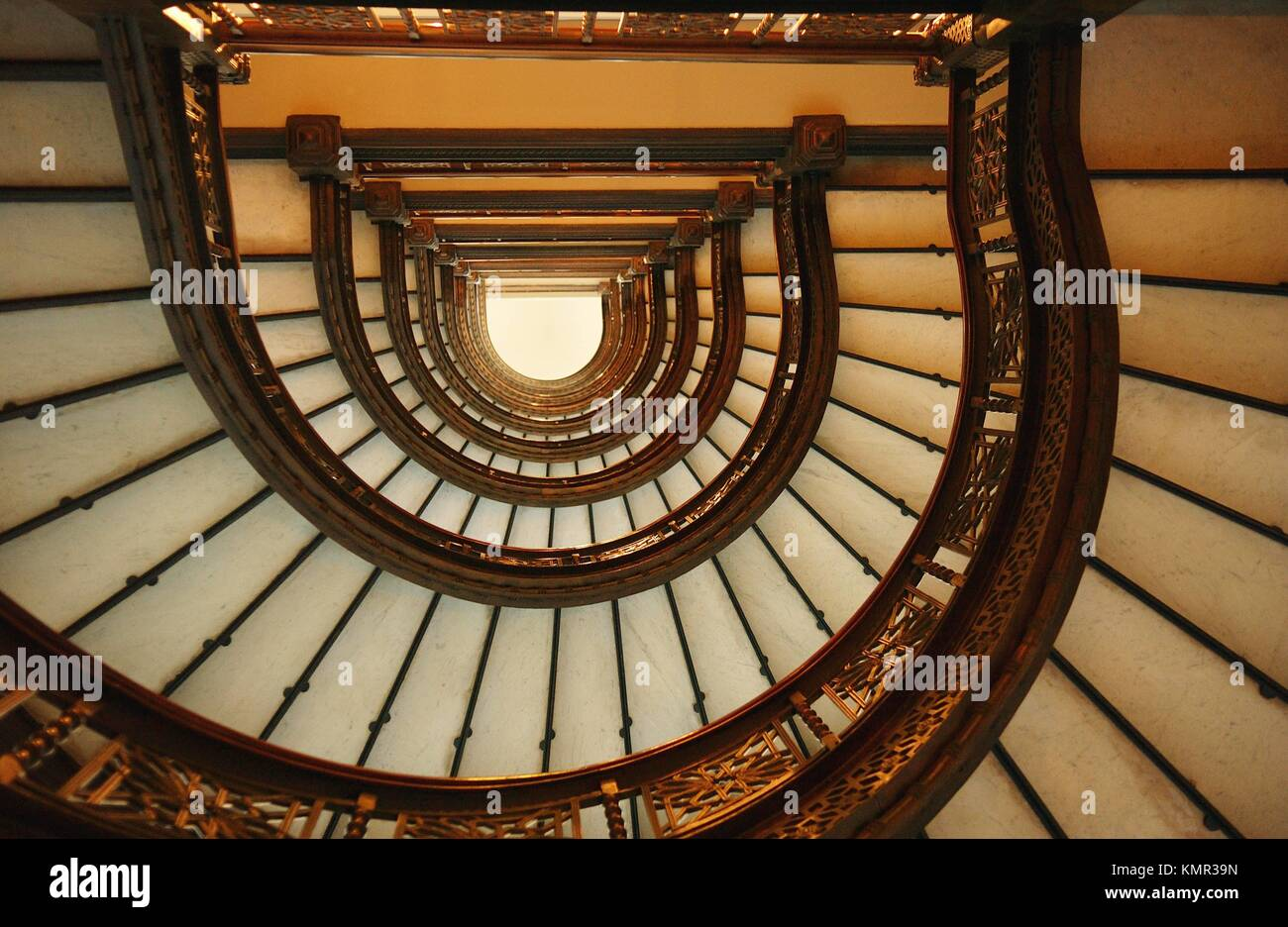 Chicago, Illinois, Low Angle View Of A Spiral Staircase