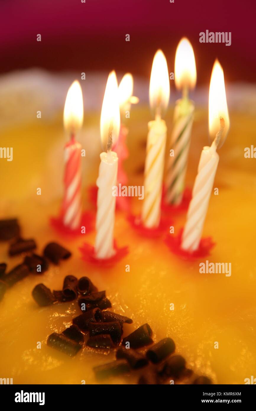 Birthday Cake Candles Light Golden Candlelight Selective Focus