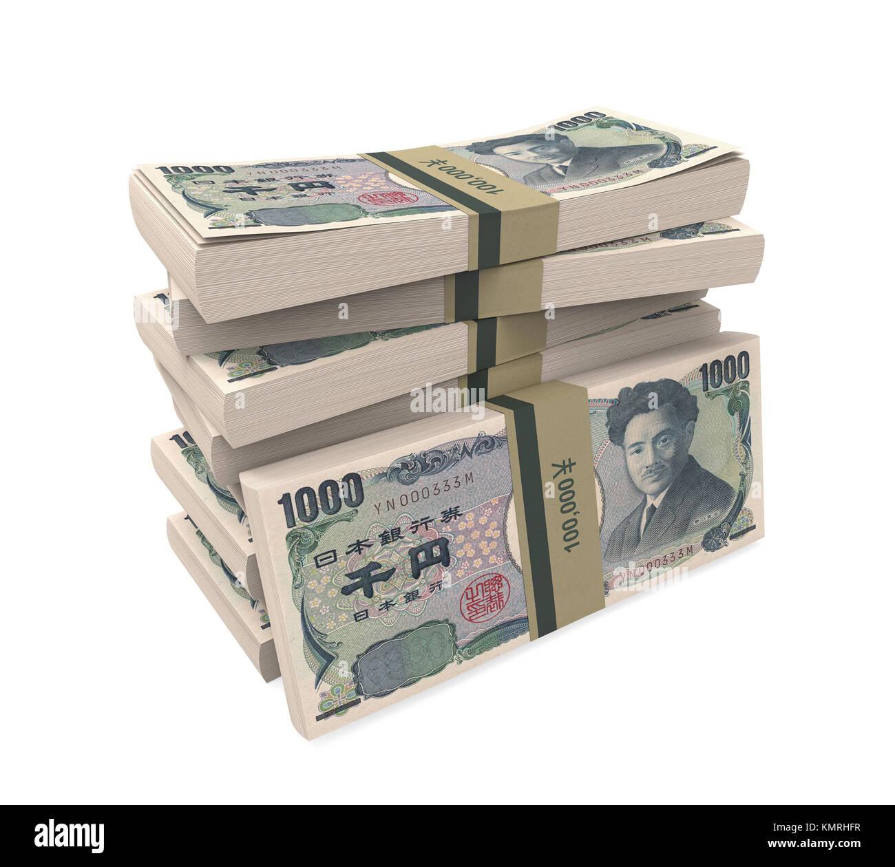 stacks of 1000 japanese yen isolated stock photo 167705099 alamy