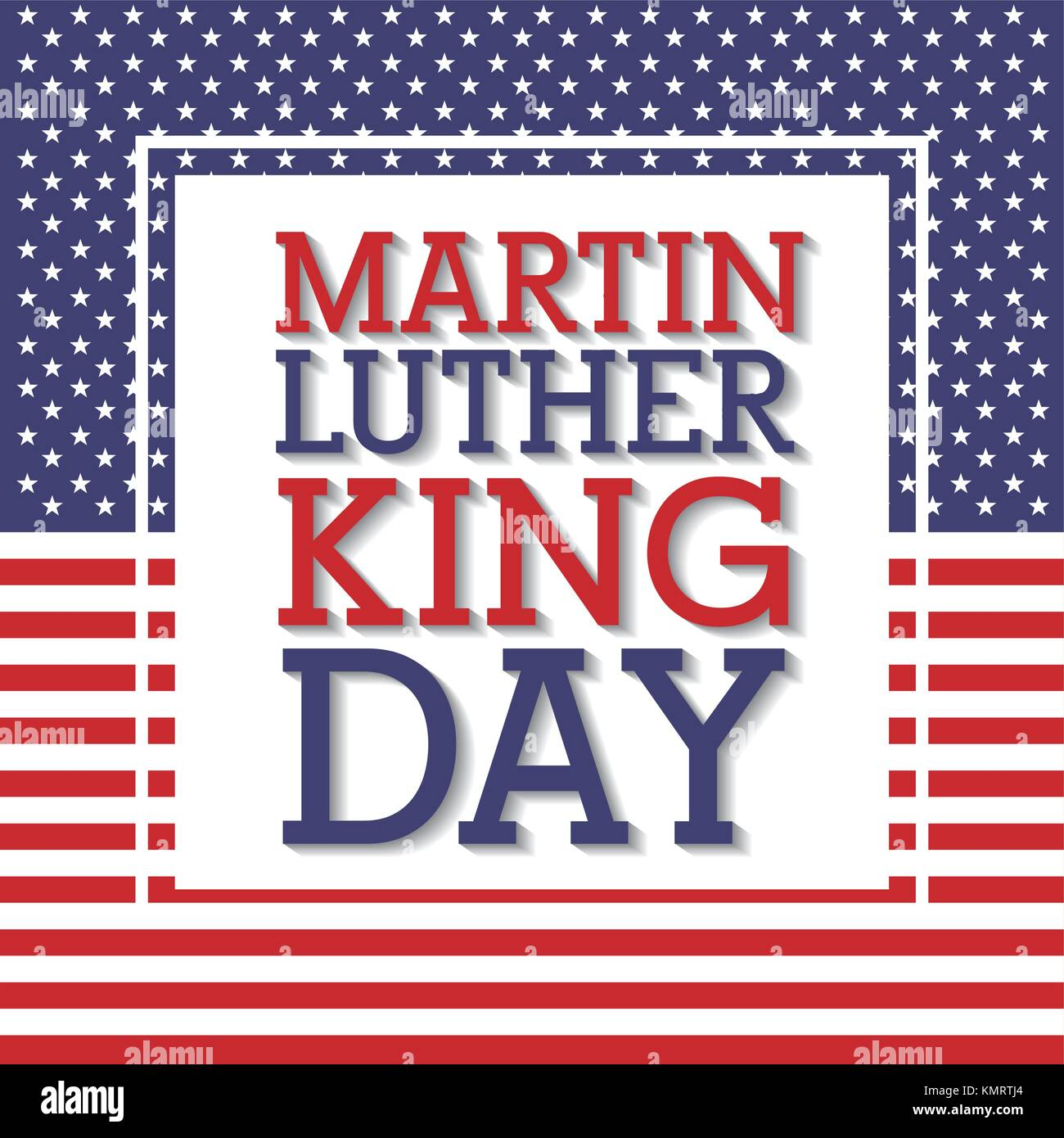 Martin Luther King Day Flag National Frame Decoration Stock Vector