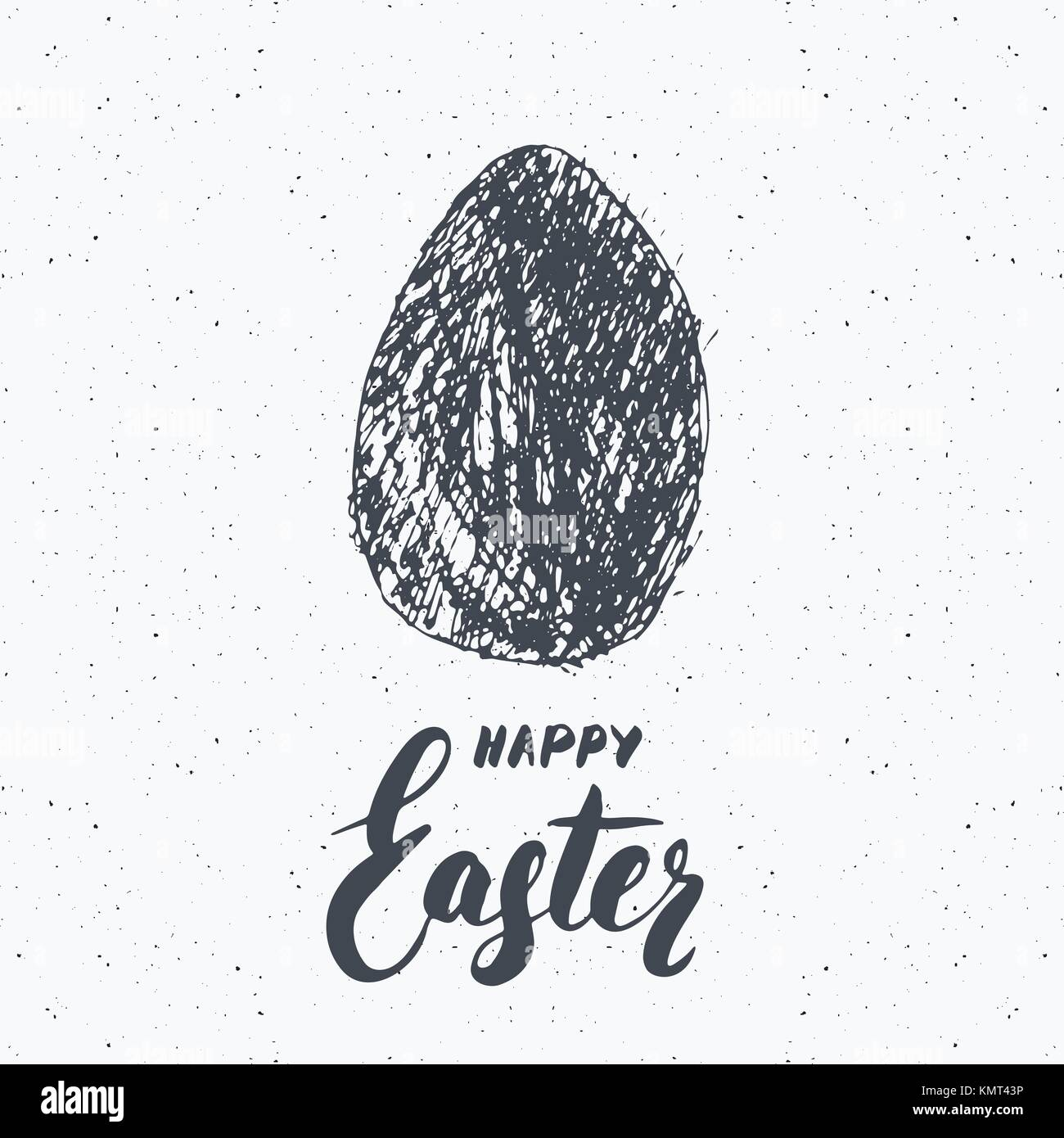 Happy easter hand drawn greeting card with lettering and sketched happy easter hand drawn greeting card with lettering and sketched grunge egg label retro vintage holiday vector illustration kristyandbryce Gallery