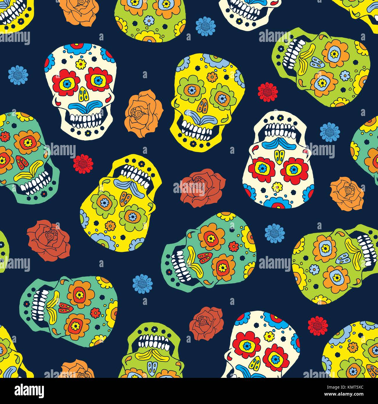 Day Of The Dead Seamless Pattern Handdrawn Sugar Skulls And Roses Background Vector Illustration