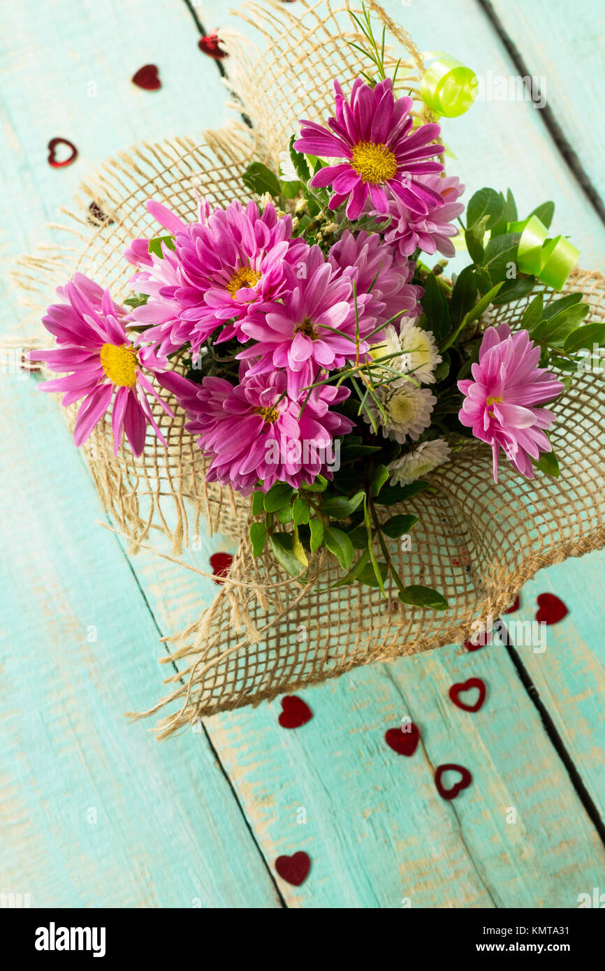 Valentines Day Or Greeting Card Beautiful Bouquet Of Flowers As A