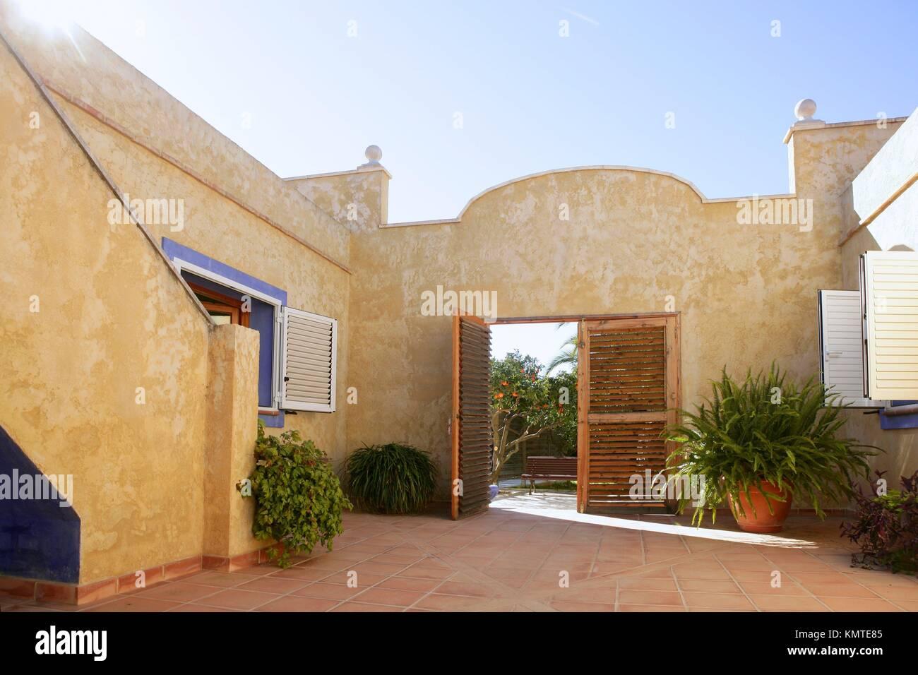 spanish golden wall mediterranean style house nice courtyard stock