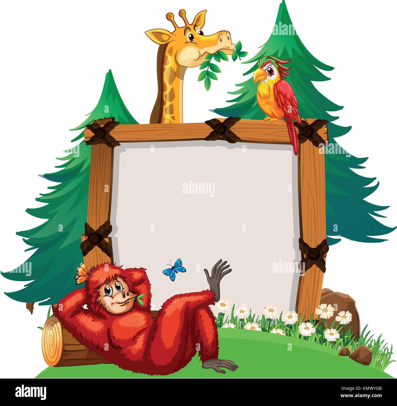 board template with cute animals in zoo illustration stock vector