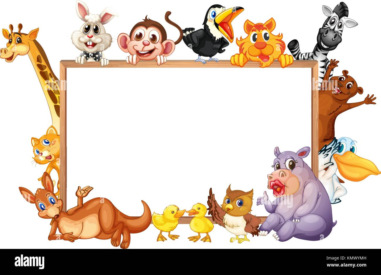 border template with wild animals with happy face illustration stock
