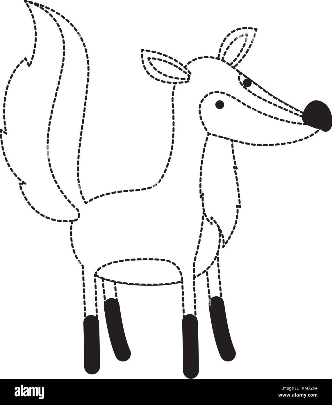 fox cartoon in black dotted contour Stock Vector Art & Illustration ...