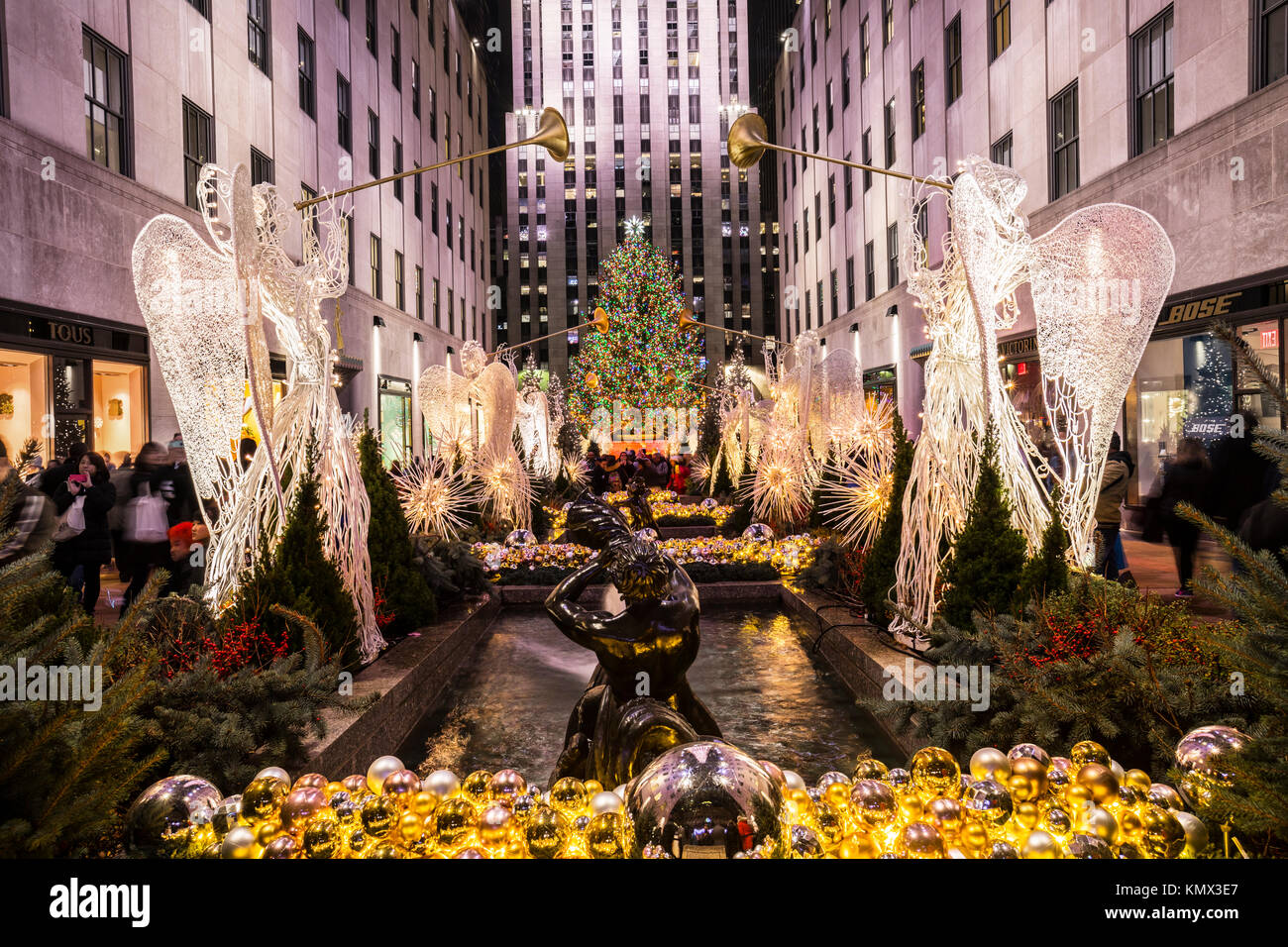 Downtown New York Christmas Decorations Stock Photos