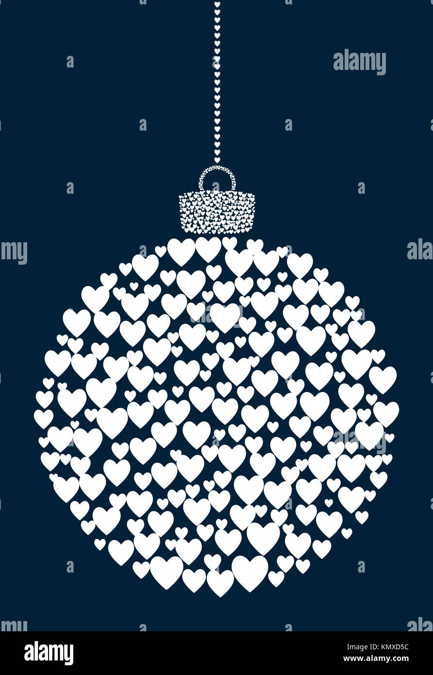 Vector Hanging Abstract Ball Consisting Of Heart Icons On Dark Blue Background