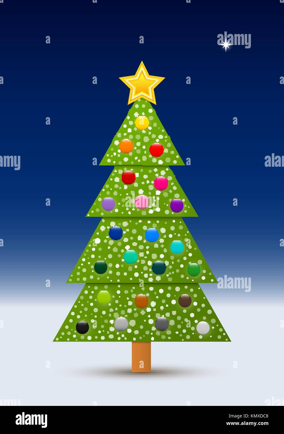 Vector decorated Christmas tree with balls and snow in the clear ...