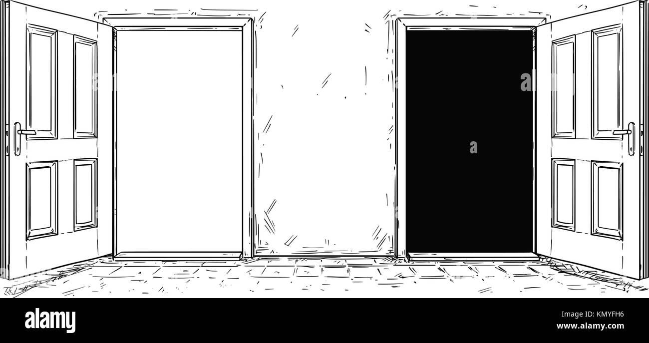open door drawing. Cartoon Vector Doodle Drawing Of Two Open Wooden Decision Door. Choices Or Ways Door