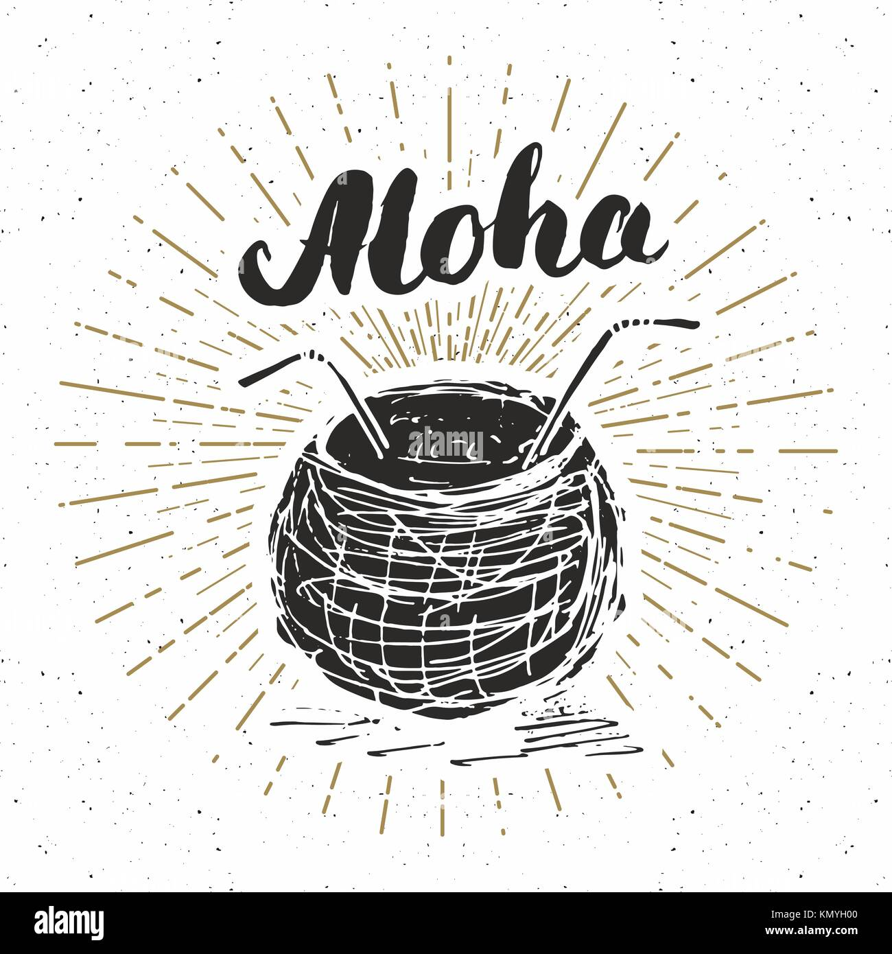 vintage label hand drawn coconut with lettering aloha grunge stock