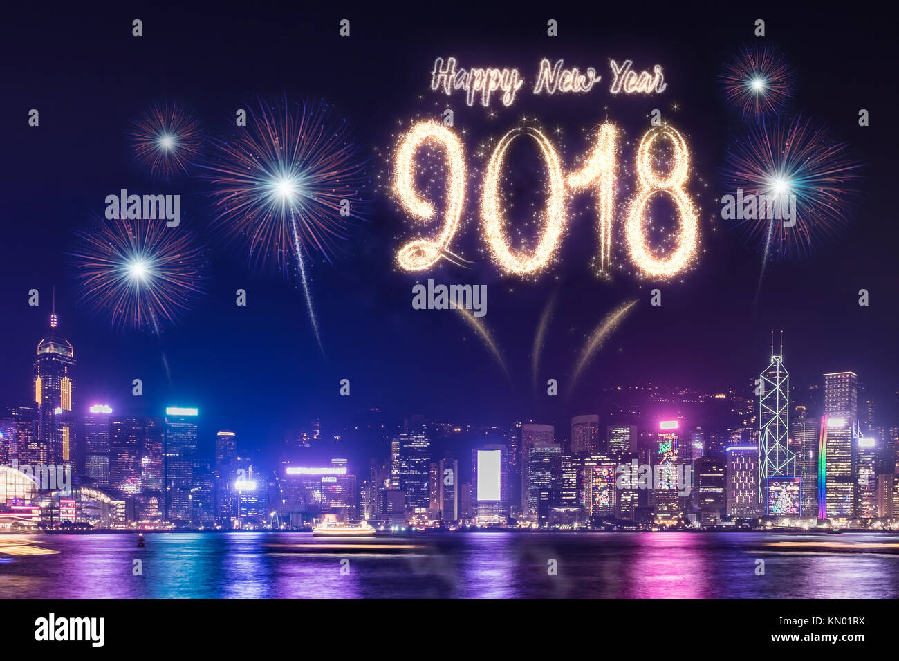 happy new year 2018 firework over cityscape building near sea at night time celebrationholiday festival greeting cardcountdown time