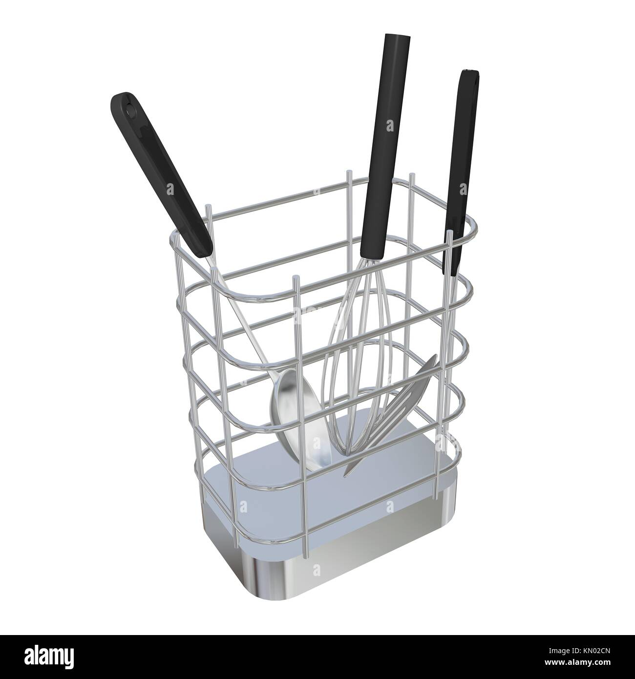 Stainless Steel Wire Basket Rack Or Holder With Frying Laddle Spoon Diagram And Egg Beater 3d Illustration Isolated Against A White Background