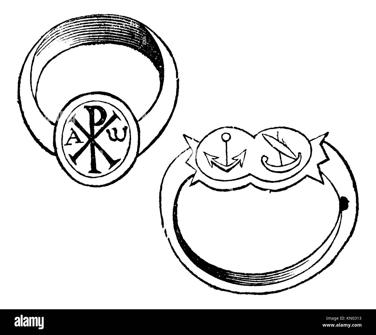 Dove and fish as christian symbols stock photos dove and fish as two christian episcopal rings with symbols vintage engraving old engraved illustration of a bishp or archbishop biocorpaavc