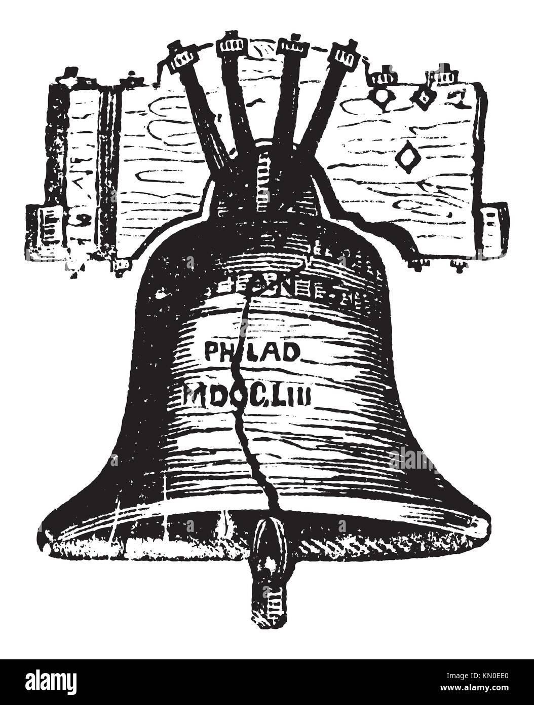 Liberty bell in philadelphia pennsylvania usa vintage liberty bell in philadelphia pennsylvania usa vintage engraving old engraved illustration of the liberty bell showing crack biocorpaavc Images