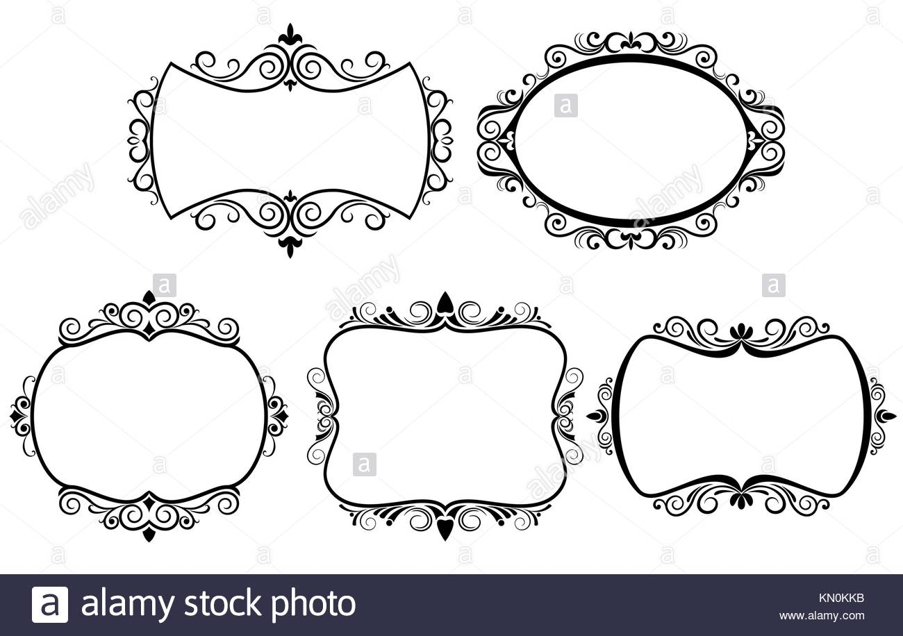 Set of vintage frames isolated on white Stock Photo: 167816527 - Alamy