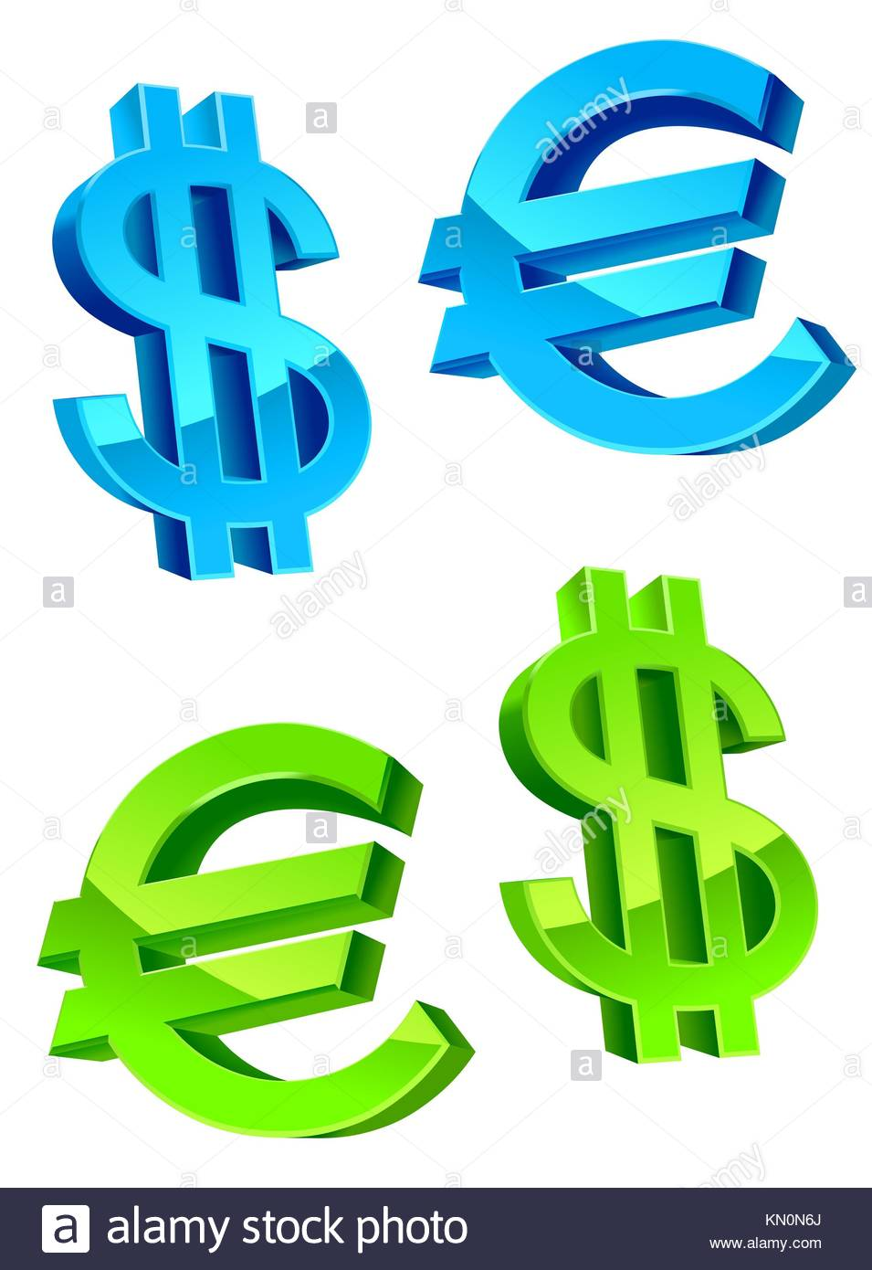 Glossy Currency Symbols Of Usa Dollar And Euro Stock Photo