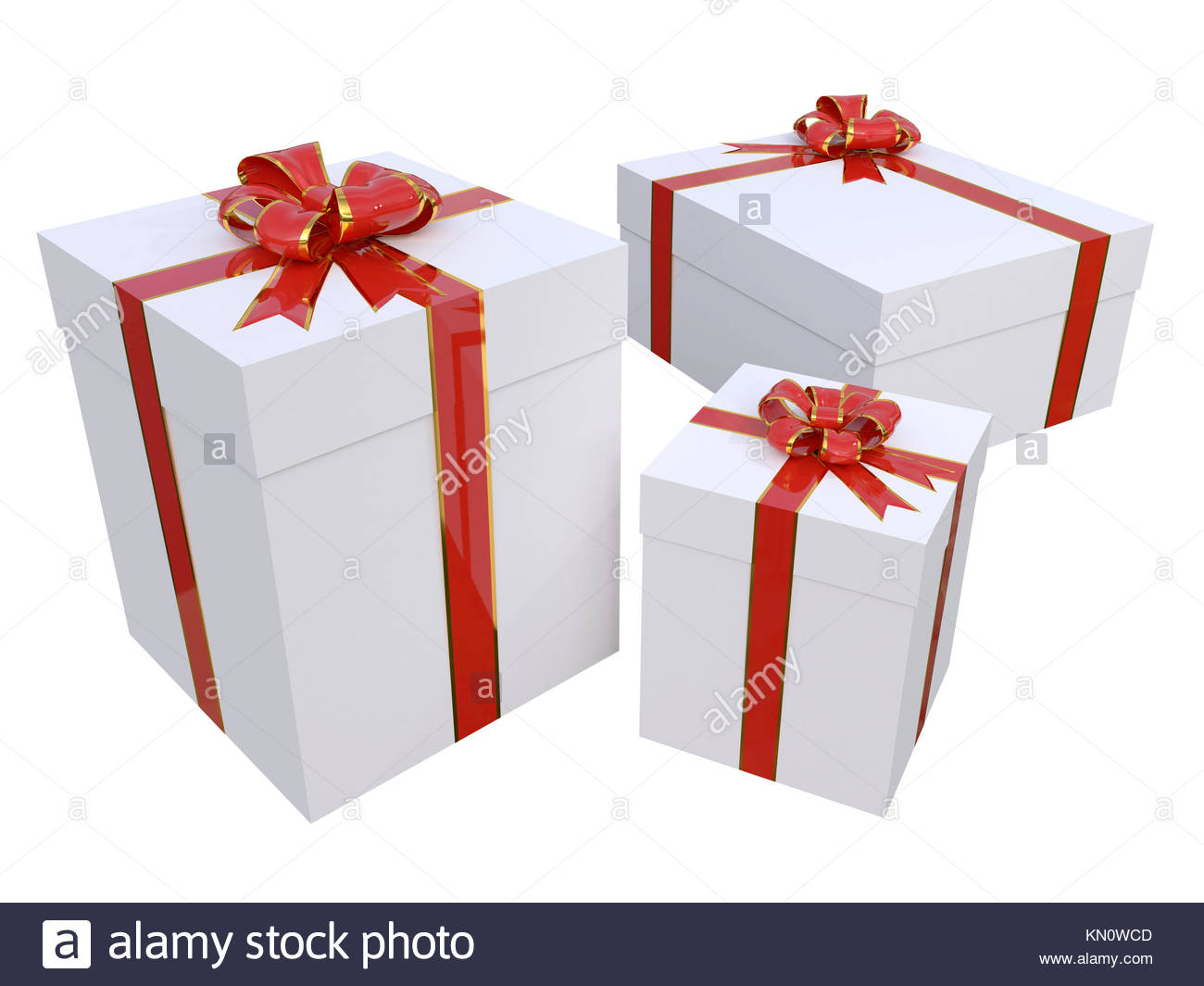 Three gift boxes with red and gold bows isolated over white Stock ...