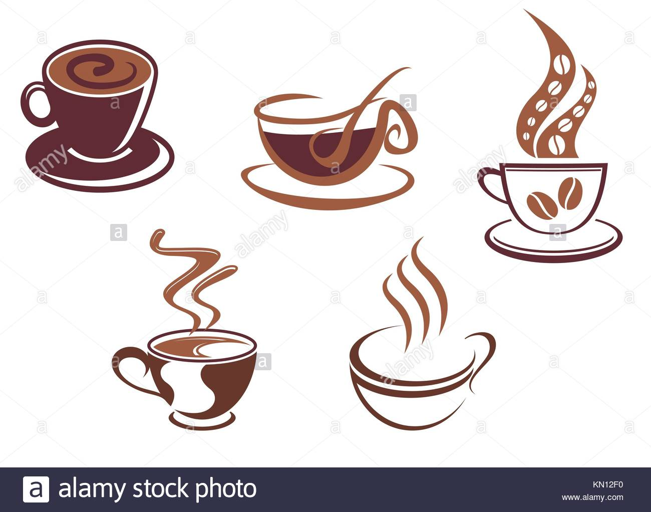 Coffee And Tea Symbols And Icons For Food Design Stock Photo