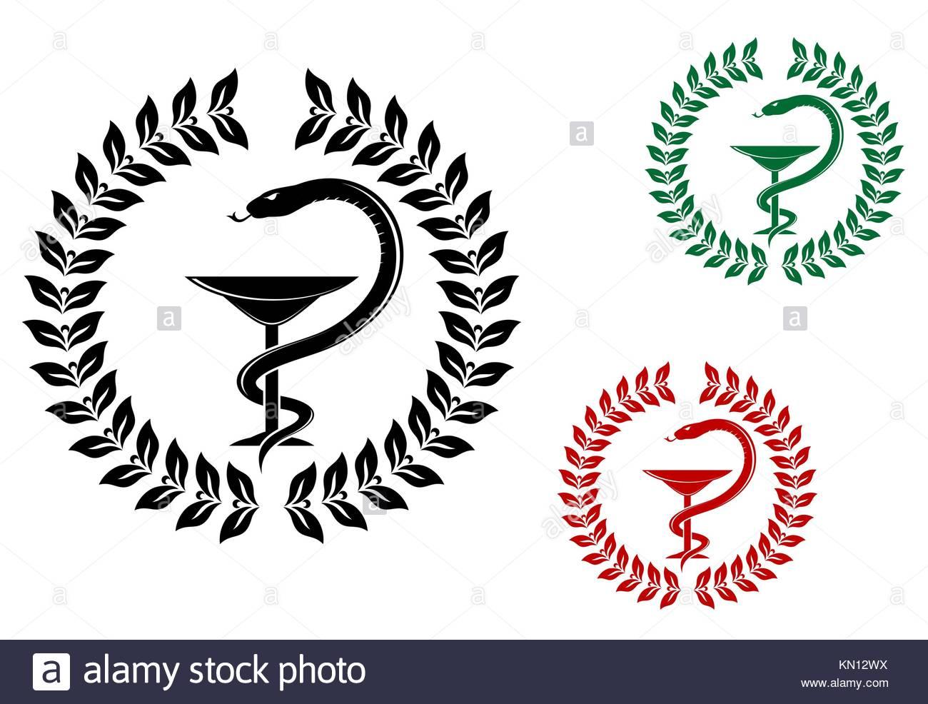 Caduceus medical symbol icon vector stock photos caduceus medicine symbol snake on cup in laurel wreath stock image buycottarizona
