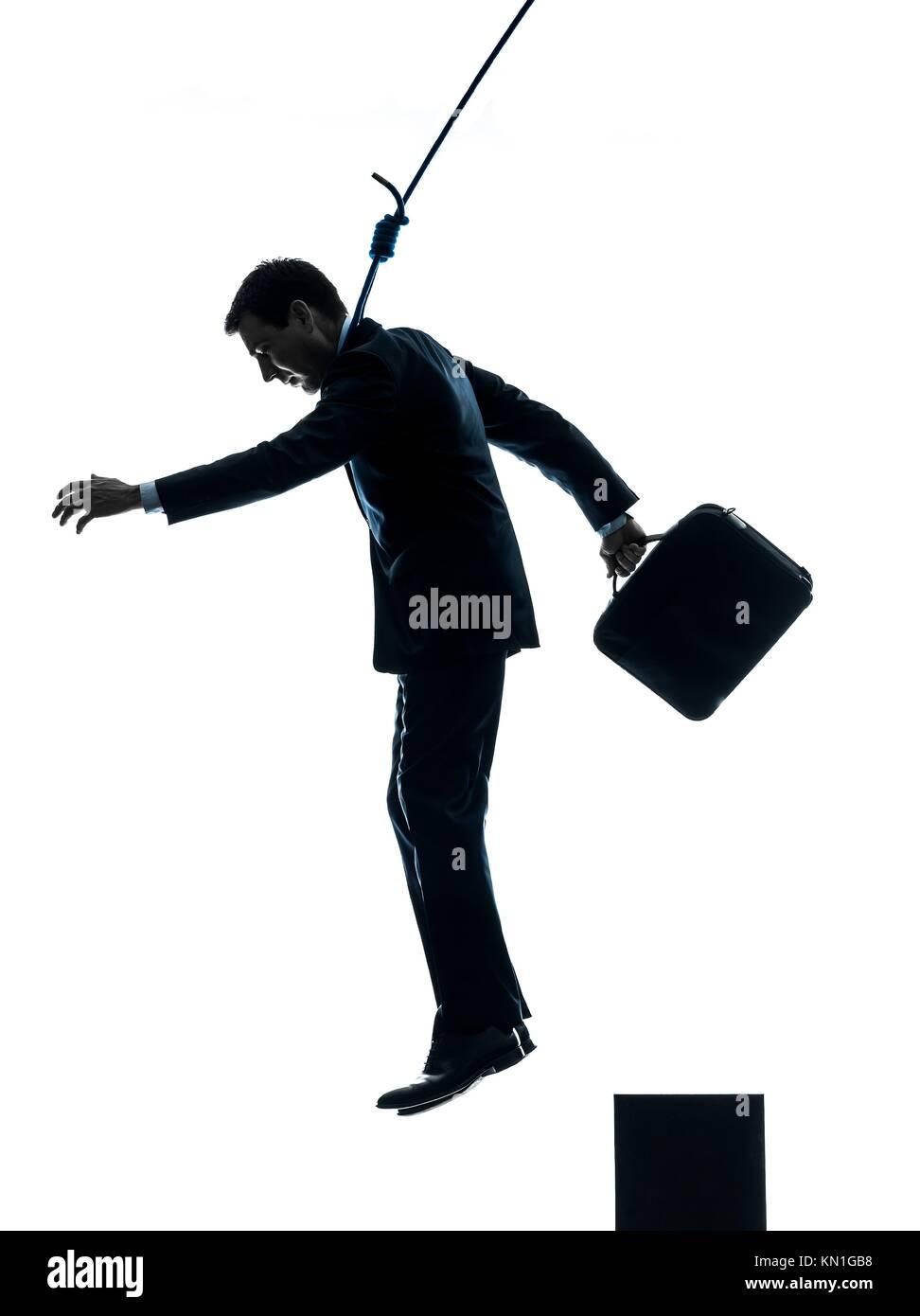 one caucasian man business man suicidal hanging in silhouette studio
