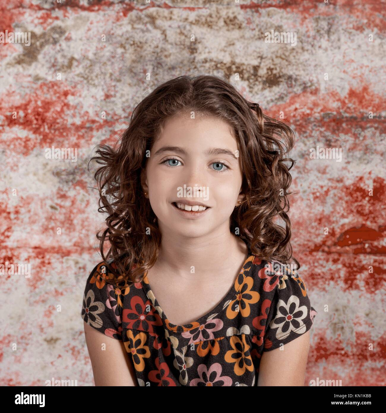 Bunette kid girl portrait smiling in retro vintage color Stock Photo ...