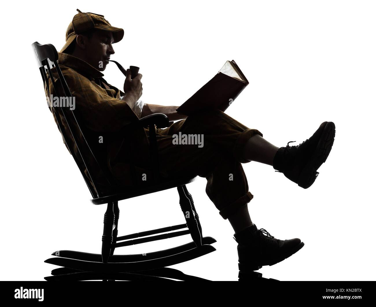 Rocking Chair Silhouette. Sherlock Holmes Reading Silhouette Sitting In Rocking  Chair Studio On White Background