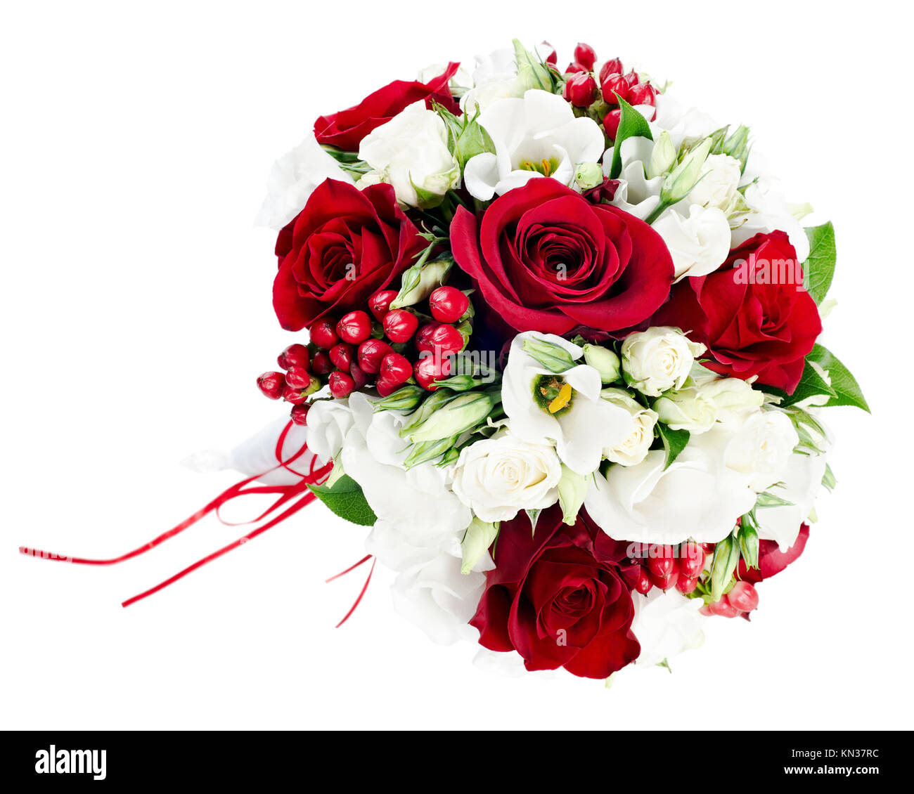 Flower Wedding Bouquet From White And Red Roses Isolated On White