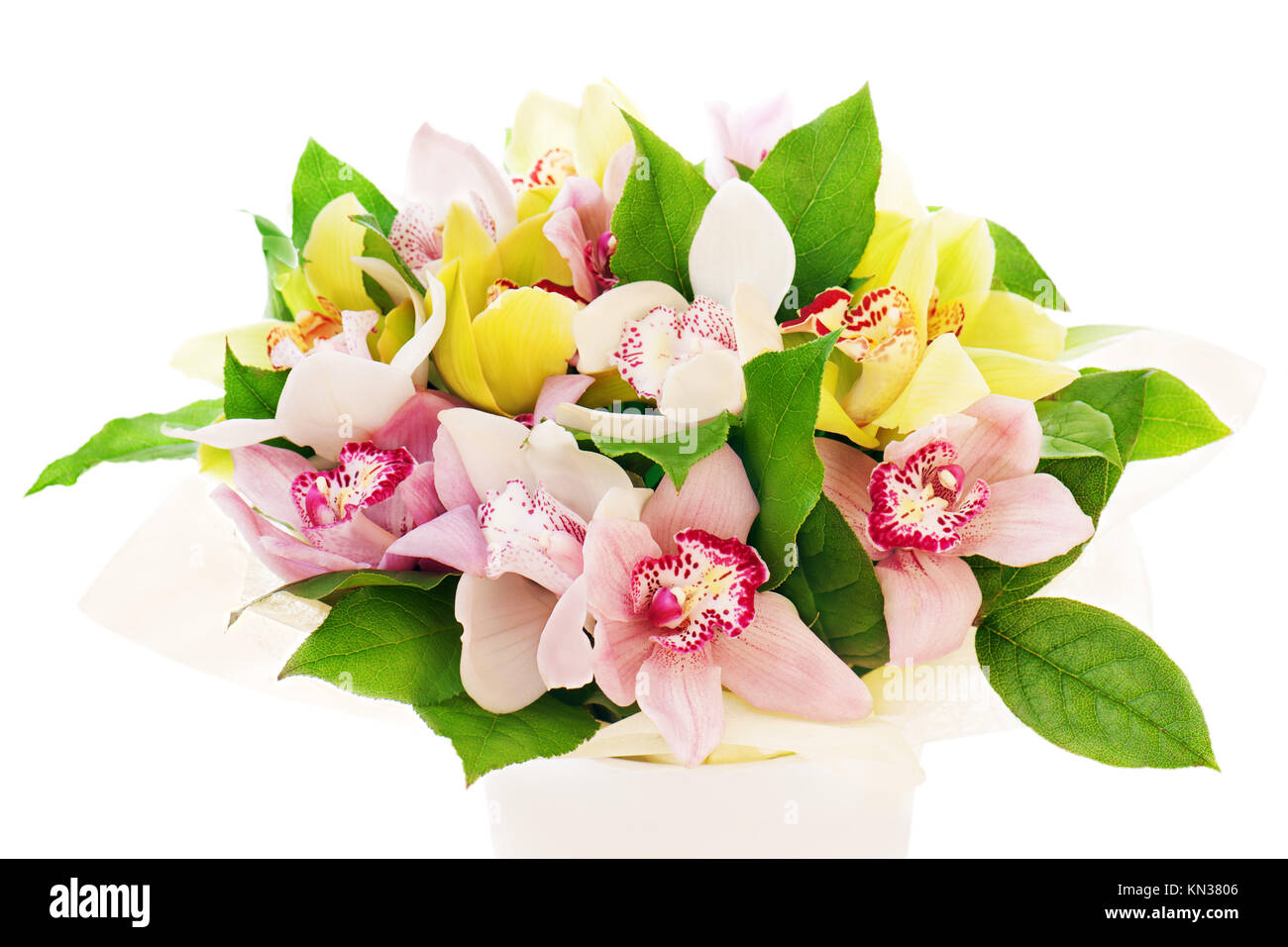 colorful flower bouquet from orchids arrangement centerpiece in vase ...
