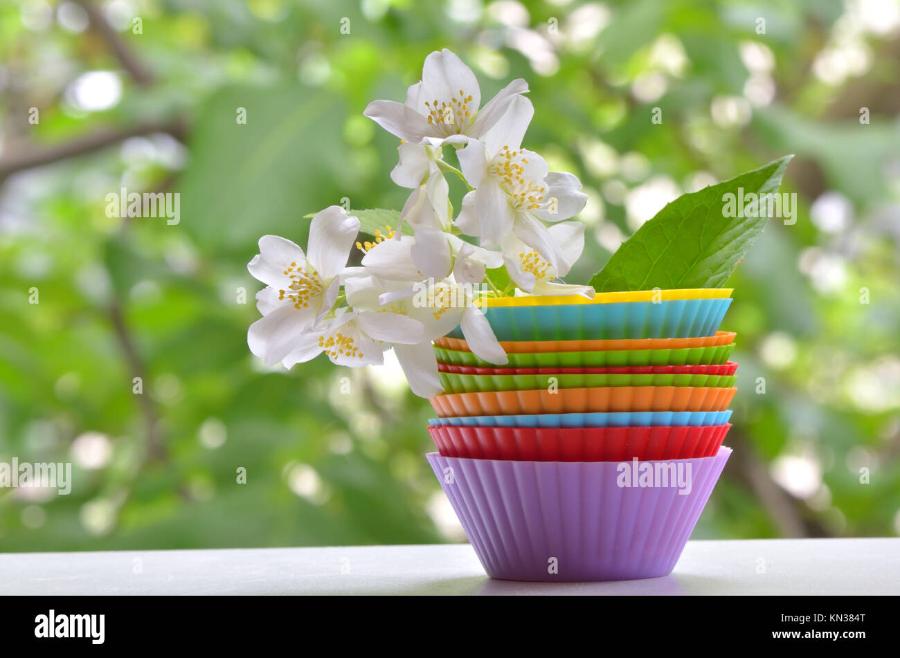 Types Of Muffins With Jasmine Flower Shoot On Natural Background