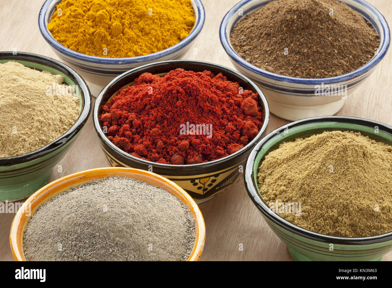 Moroccan bowls stock photos moroccan bowls stock images alamy moroccan bowls with different ground spices stock image reviewsmspy