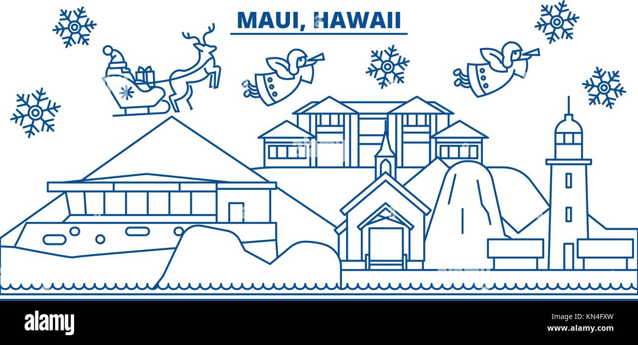 usa hawaii maui winter city skyline merry christmas and happy new year decorated banner winter greeting card with snow and santa claus