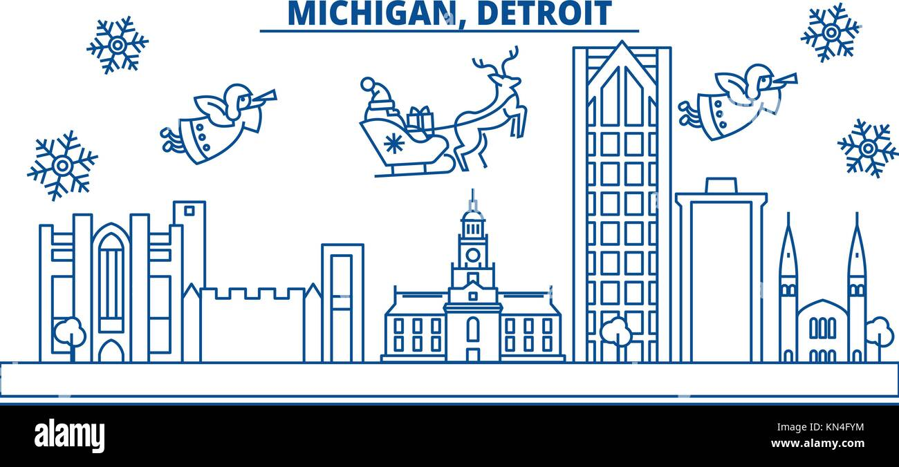Usa michigan detroit winter city skyline merry christmas and usa michigan detroit winter city skyline merry christmas and happy new year decorated banner winter greeting card with snow and santa claus m4hsunfo